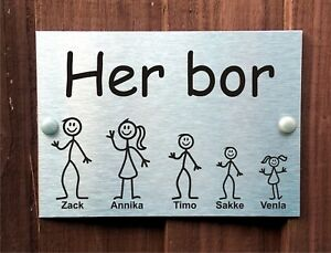 B-petite-norvegienne-porte-Plaque-personnalisee-Stick-famille-maison-nom-nombre-signe