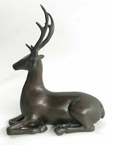 Vintage Signed Limited Edition Real Bronze Deer / Stag / Caribou / Elk Gift Sale