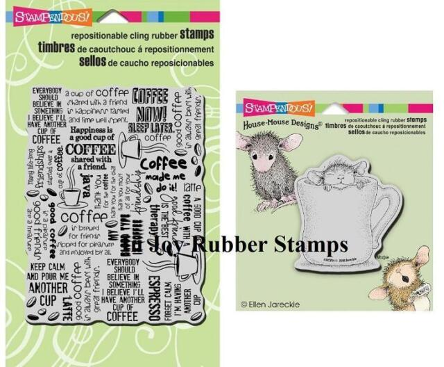 Stampendous Cling Stamp Lot: Coffee Background, House Mouse Warm Cup