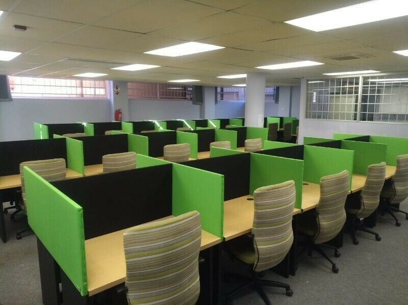 CALL CENTRE DESKS with CUBICLES and TRAINING DESKS - used
