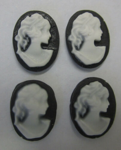 4 Black Resin Lady Cameo Cabochons For Pendant Frame For Beading /& Craft CAM304