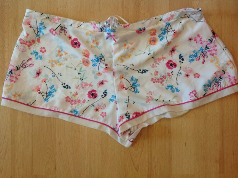 Womens Ladies Silky Bed Pyjama Shorts In White Floral 12 New