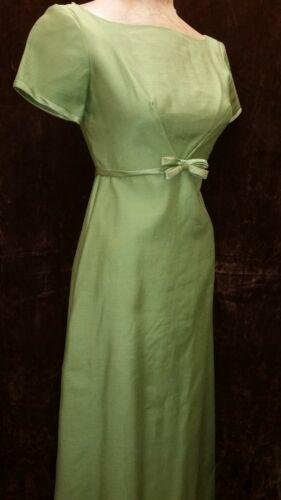 Vintage 1960's Avocado Green Maxi Prom Party Dres