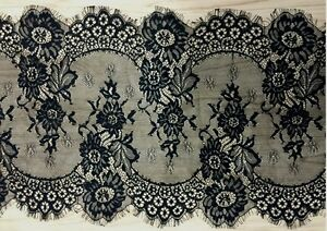 """3 Yards Floral Embroidered Eyelash Mesh Lace Trim /12 """" in Width Black / White"""