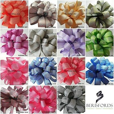 10mm Woven Herringbone Pattern Ribbon  by Berisfords 12 Shades Free UK Post
