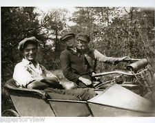 Vintage Motorcycle And Sidecar Father & Sons Posing In Motorcycle Side Car 1920