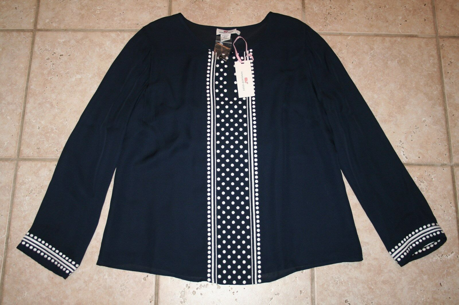 NWT Vineyard Vines damen Small Silk Polka Dot Embroiderot Top
