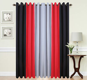 Image Is Loading Eyelet Curtains Ring Top Fully Lined Pair Black