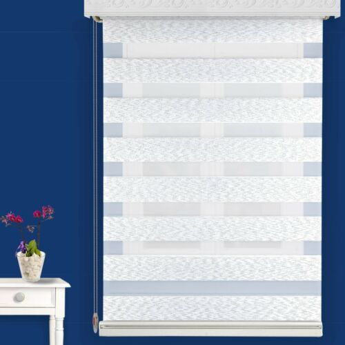 Double Roller Blinds Custom Made Duo Napoli Silver Stripes Opaque /& Transparent