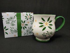 Temp-Tations By Tara Green Floral 16 oz Mug Cup Stoneware Ovenware w/ Gift Box