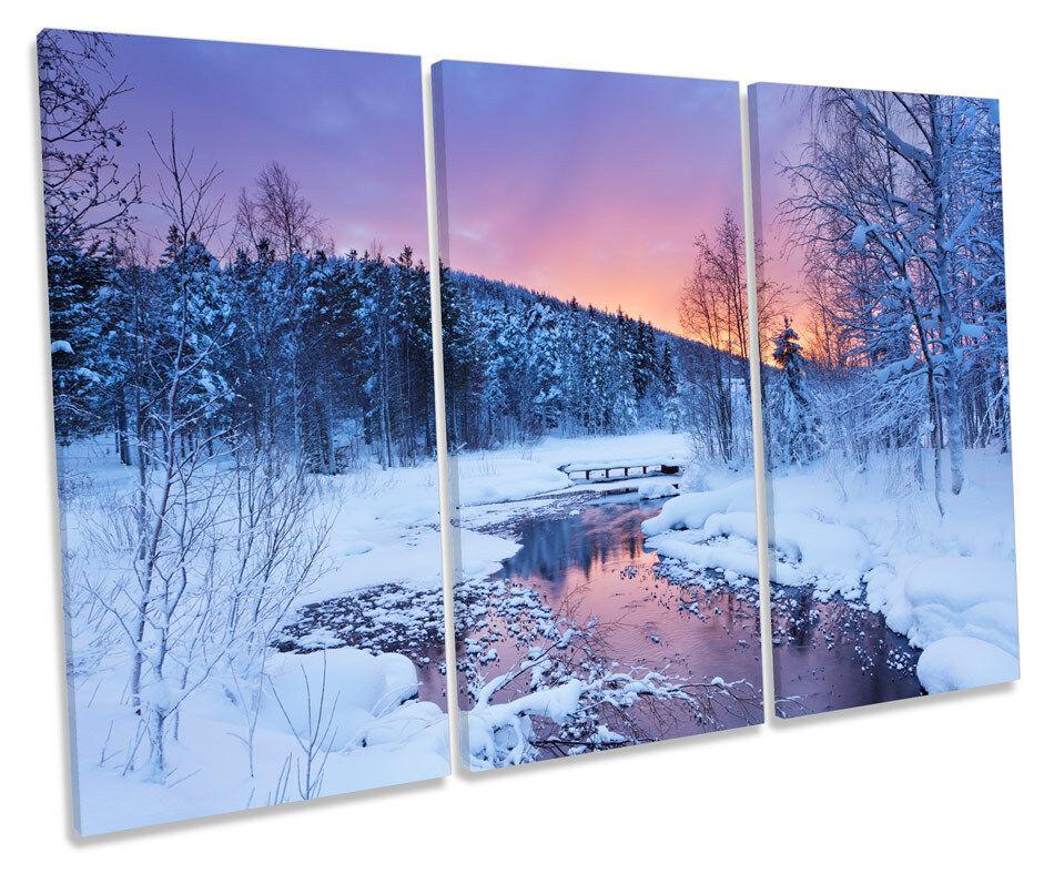 Winter River Sunset Snow CANVAS WALL ART TREBLE Box Frame Print
