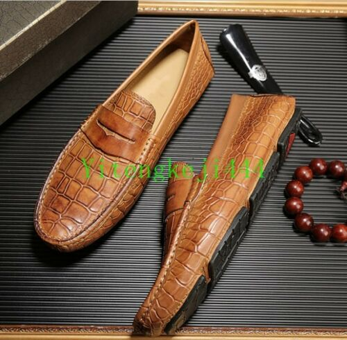 New Mens Leather Alligator print Leisure Driving Shoes Slip On Loafer Moccasins