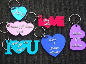 PERSONALIZED ACRYLIC MIRROR SMALL HEART KEYCHAIN CUSTOM NAMES ENGRAVED KEY CHAIN