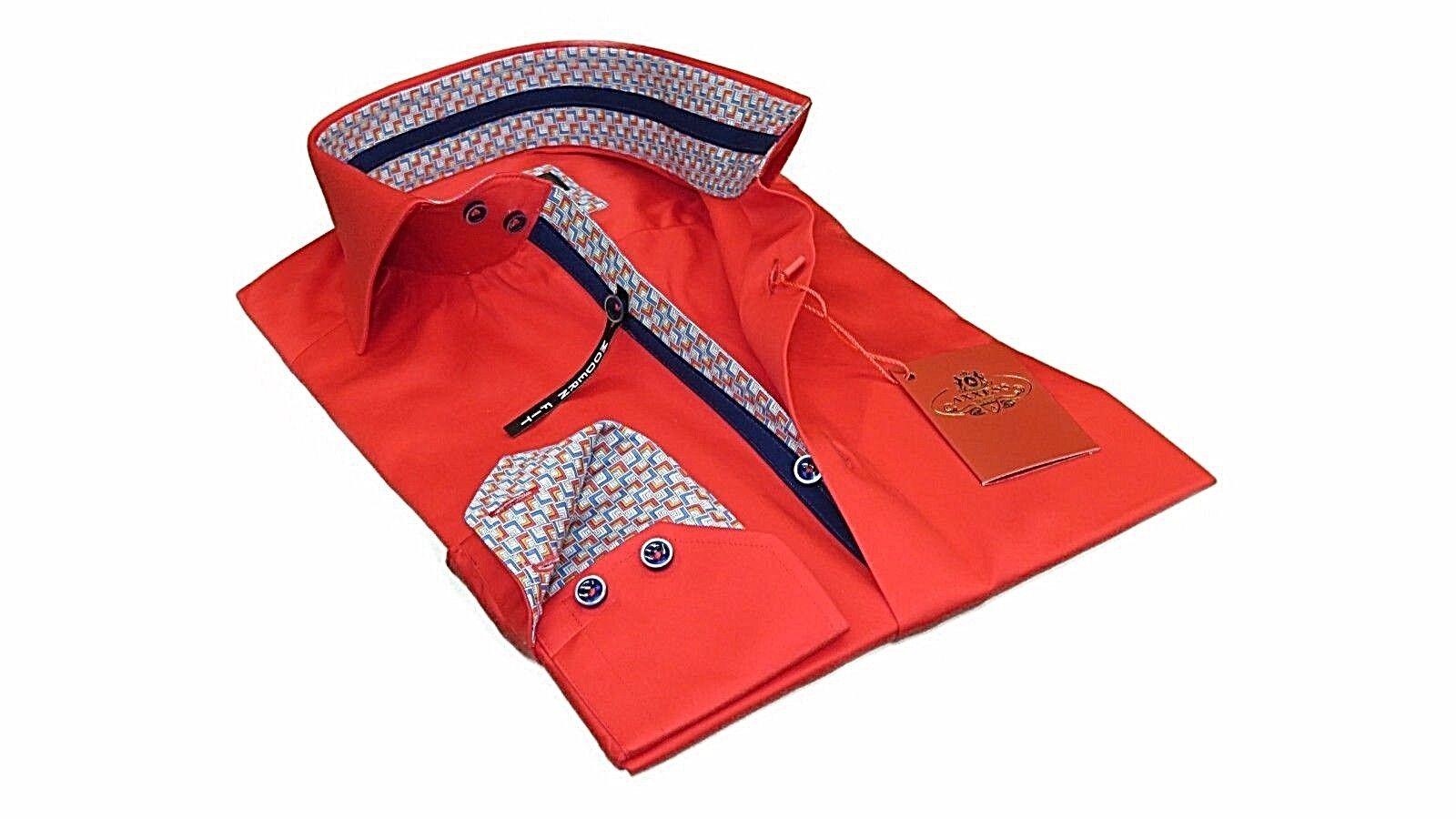 Men Axxess All Cotton Shirt Spread 2 Button High Collar Turkey 18-08 Fire ROT