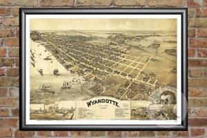 Old-Map-of-Wyandotte-MI-from-1896-Vintage-Michigan-Art-Historic-Decor