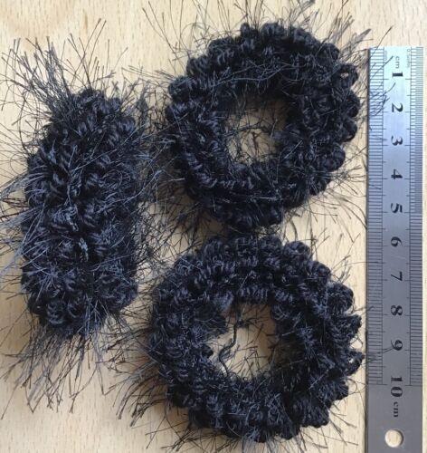 A 3 Pack Of Black Fluffy Donut Hair Scrunchie//Bobble