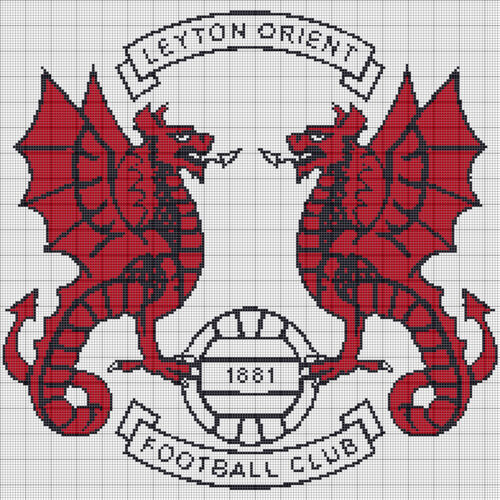 LEYTON ORIENT F.C FOOTBALL BADGE Counted Cross Stitch Chart
