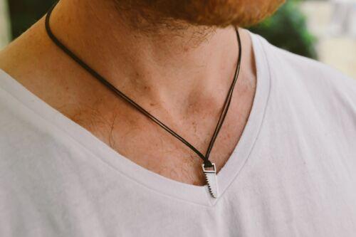 Scie Collier pour hommes noir collier pendentif en argent homme collier cadeau pour lui