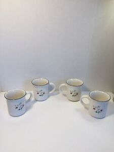 Pfaltzgraff Winterberry Set Of 4 Coffee Tea Cups Mugs Christmas Holly Berry Vine