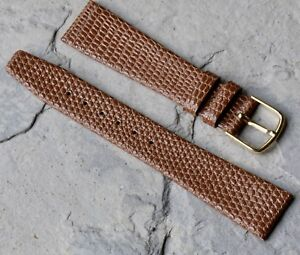 Thin-caramel-color-Genuine-Leather-18mm-vintage-watch-strap-by-Hadley-Roma-NOS