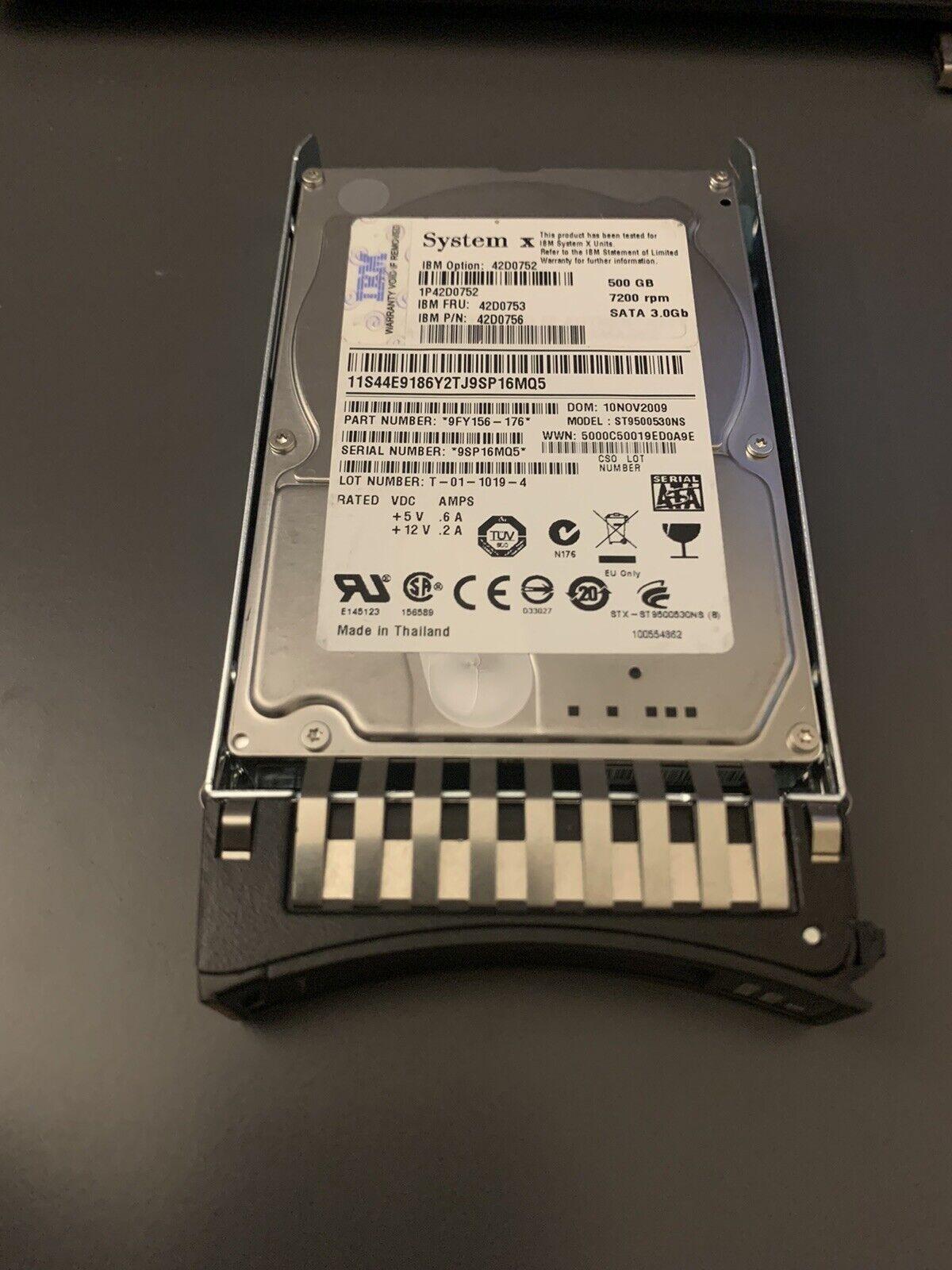 """IBM 500GB 7.2K SATA 3G 2.5/"""" HDD 42D0753 42D0752 42D0756"""