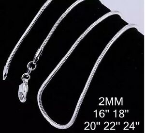 2mm Snake Chain Necklace Sterling Silver 925 16
