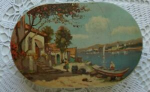 Vintage-Ancienne-Boite-metal-Ovale-lithographiee-034-Bord-de-Mer-034