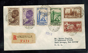 1937 Bingerville Ivory Coast AOF Registered Cover to USA Colonial Expo