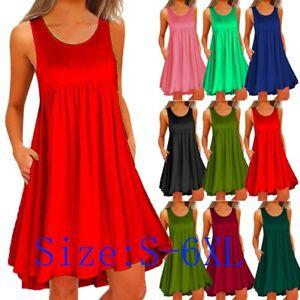 Plus-Size-S-5XL-Womens-Sleeveless-Party-Tops-Summer-Beach-Mini-Dress-Sundress-US