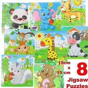 Enfants Mini d'apprentissage en bois Puzzles Jigsaw jouet éducatif animaux/véhicules