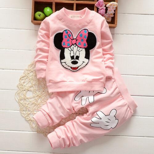Toddler Kids Girls Cartoon Minnie Mickey Mouse Hoodie Coat Sleepwear Outfit Sets