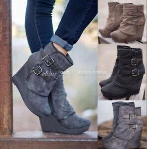competitive price 1120d 6434a Details zu Keilabsatz Stiefeletten Damen Schnalle Wedge Ankle Boots  Platform 34-43 NEU Sexy