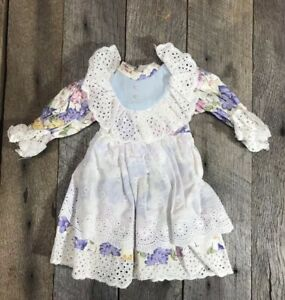 Vintage-Antique-Floral-Doll-Dress-10-Inches