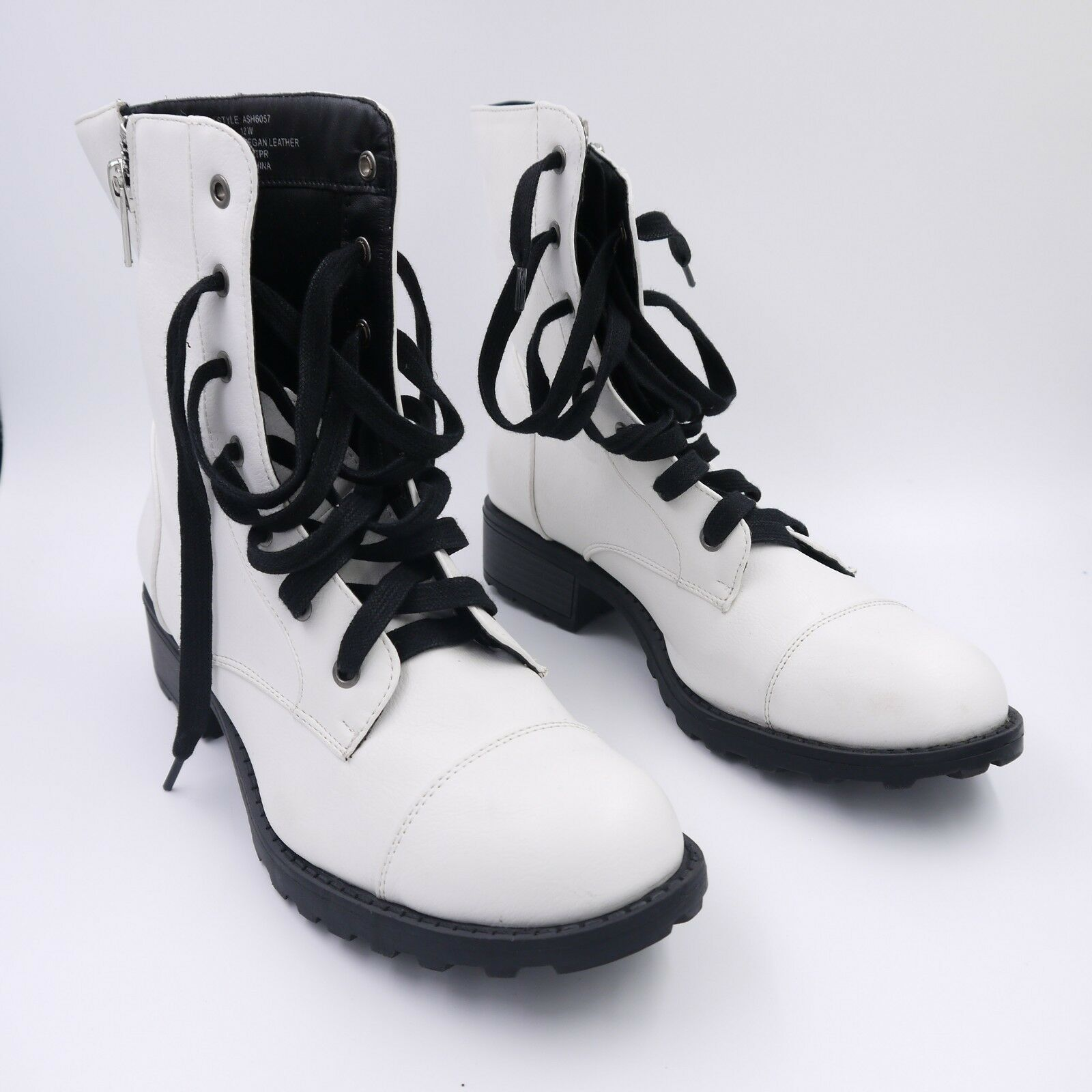 ASHLEY STEWART Women's 12 W W W White Vegan Leather Lace up Ankle Boots. EUC 84ee6d