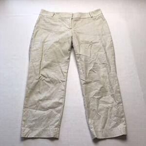 LOFT Ivory Black Polka Dot Cropped Dress Pants Size 8P A750