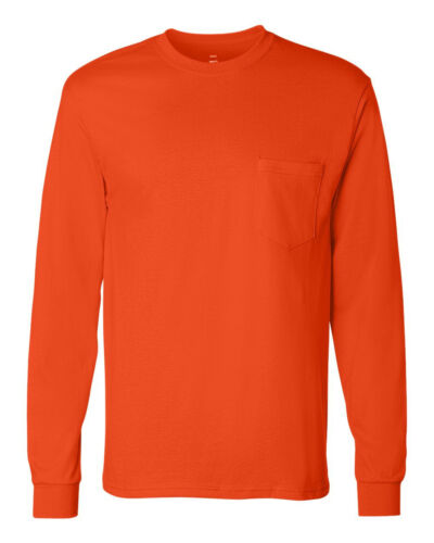 Hanes Mens Tagless 100/% Cotton Long Sleeve T-Shirt with a Pocket Tee S-3XL  5596