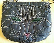 Purse Shoulder Bag Evening or Kid's Black  Beaded Cat Face Bag