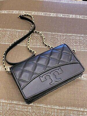 NWT Tory Burch SAVANNAH Chain Flat Leather Wallet Crossbody Black 64141
