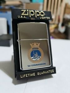 Zippo Windproof Collectible HP Chrome Lighter HMS Ocean 1st Commission 1998 NEW
