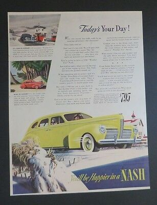 Advertising-print Collectibles Original 1940 Print Ad Nash You'll Be Happier 4 Door Sedan Yellow Snowy Art Removing Obstruction