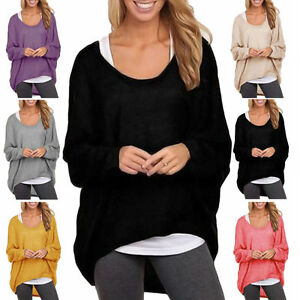 Plus-Size-Women-Long-Sleeve-Blouse-Shirt-Pullover-Casual-Baggy-Loose-Tops-Jumper