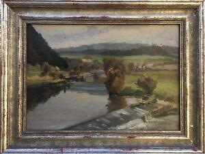 Julius-Schmid-1901-1965-Biberach-Landscape-with-River-Tubingen-Oil-Paintings