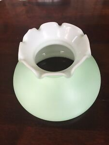 Mint-Satin-Milk-Glass-Ruffle-Top-Hurricane-GWTW-Lamp-Shade-6-Fitter-Vintage