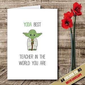 Star Wars TEACHER Card Yoda Best Teacher in the World Thank you Cute