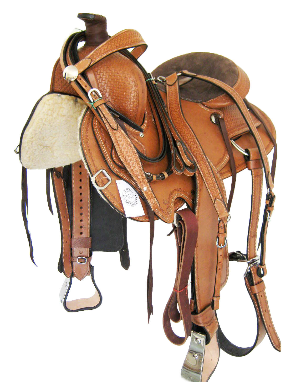 WESTERN ROPER SADDLE SET 'THSL'  LIGHT OIL METAL COVERED STIRRUPS 15   (1074)