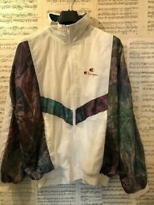 RARE-Vintage-1990s-Champion-Shell-Suit-Jacket-White-USA-Sports-Size-Small