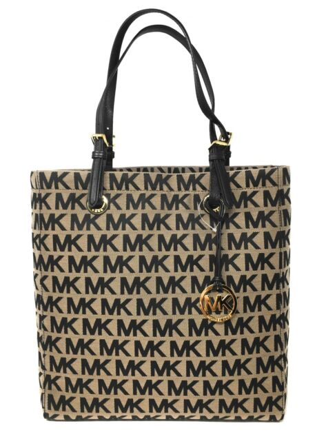 56390b7da2bdd9 Michael Kors Beige Black Jet Set Item NS Tote Purse 35S0GTTT3J for ...