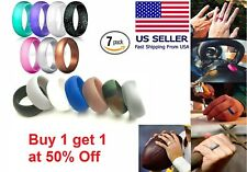 7 Pcs Silicone Wedding Ring Band Rubber Men Women Flexible Gifts Comfortable