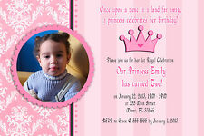 30 Personalized Princess Birthday Party Photo Invitations Card Pink Crown A1