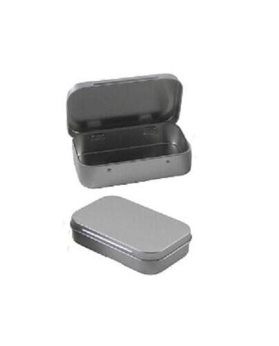 2 rectangulaire Tin 3.8 x 2.45 Récipient Métallique couvercle à charnière Crafts cosmétiques savon